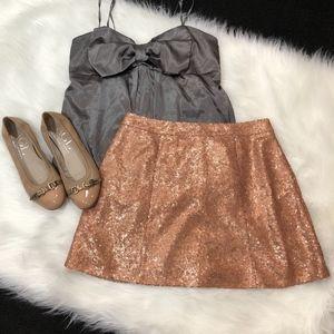 Decree Sequin Mini Skirt Rose Gold/Bronze, Size M
